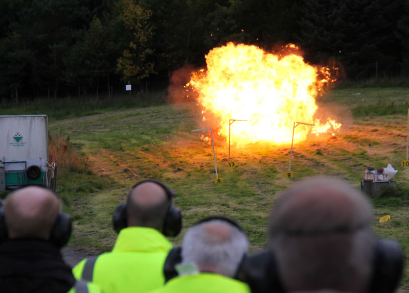 Range demonstration of firepower and explosives
